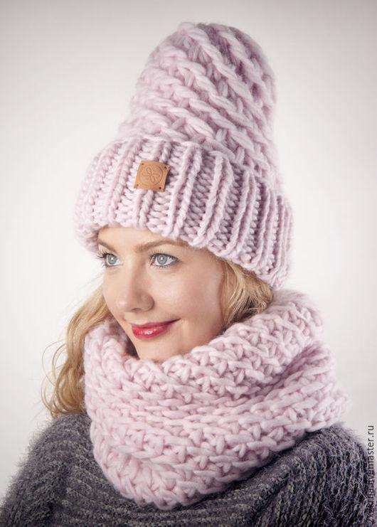Комплекты аксессуаров ручной работы. Ярмарка Мастеров - ручная работа. Купить Комплект шапка + шарф-снуд «Розовый крем». Handmade.