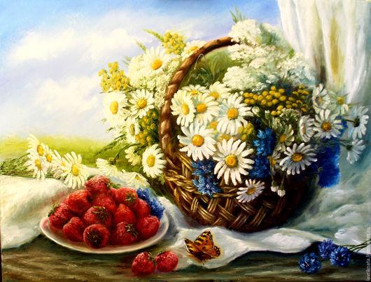 Картины цветов ручной работы. Ярмарка Мастеров - ручная работа. Купить Летнее утро. Handmade. Полевые цветы