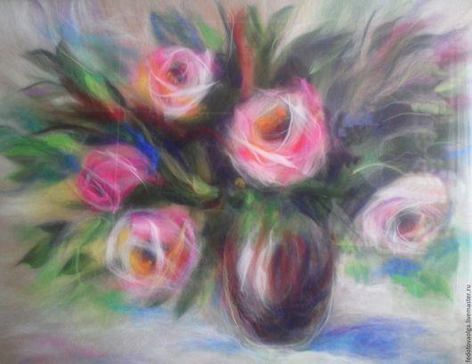 Картины цветов ручной работы. Ярмарка Мастеров - ручная работа. Купить Картина из шерсти. Розовый букет.. Handmade. Розовый, розы