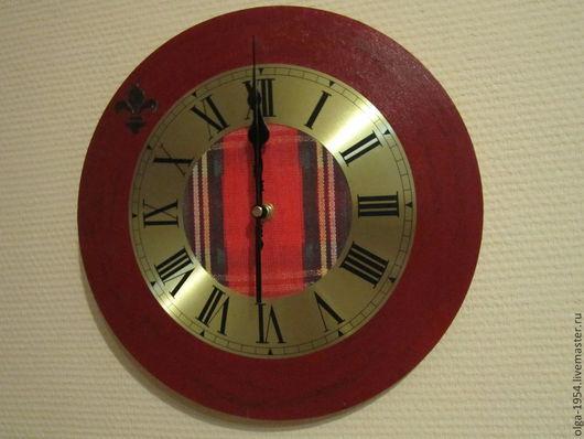 """Часы для дома ручной работы. Ярмарка Мастеров - ручная работа. Купить Часы """"Шотландский мотив... с французской изюминкой"""". Handmade. Бордовый"""