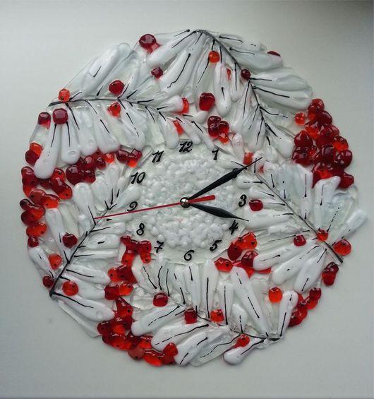 """Часы для дома ручной работы. Ярмарка Мастеров - ручная работа. Купить Часы """" Рябина в хрустале"""". Handmade. Часы настенные"""