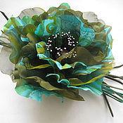 Украшения handmade. Livemaster - original item Silk flowers. Brooch hairpin MAC EMERALD .Silk crepe de Chine.. Handmade.