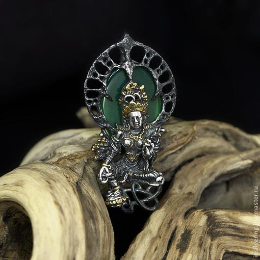 """Кулоны, подвески ручной работы. Ярмарка Мастеров - ручная работа. Купить Подвеска """"Богиня Тара"""". Handmade. Тёмно-зелёный, черный"""