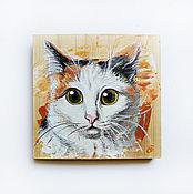 Картины и панно handmade. Livemaster - original item Portrait Pet painting on wood. Handmade.