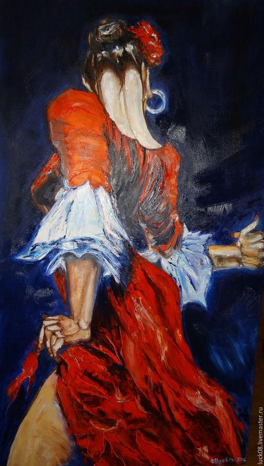 """Люди, ручной работы. Ярмарка Мастеров - ручная работа. Купить """"Испанские страсти"""". Handmade. Ярко-красный, картина для интерьера, Испания"""