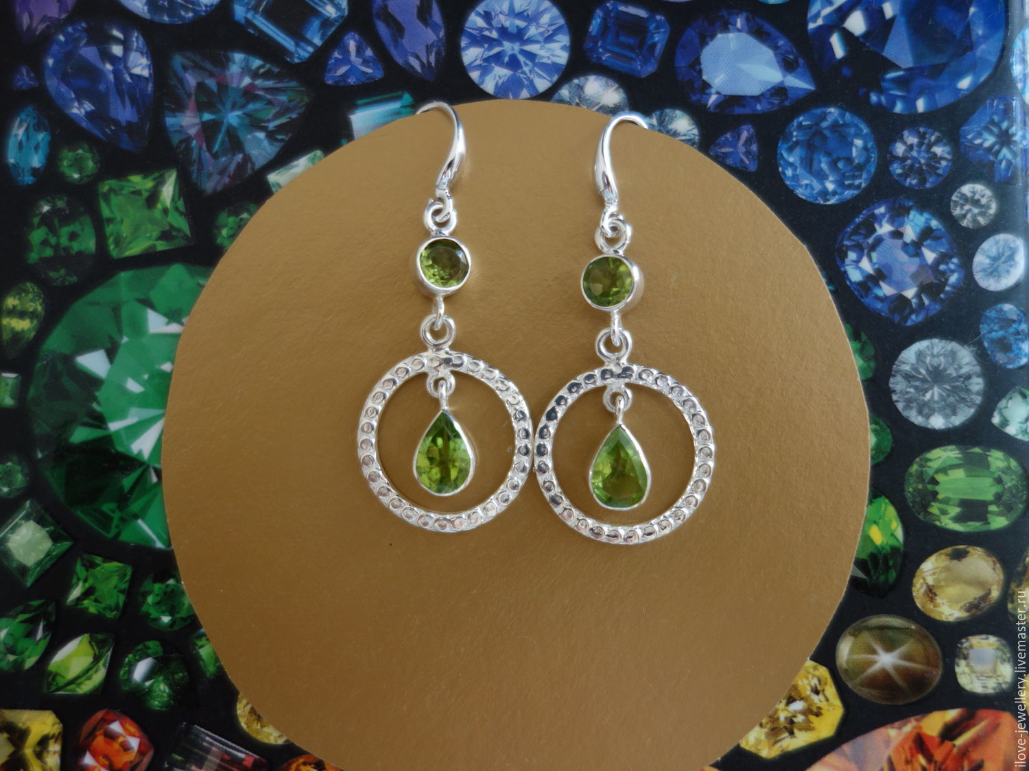 'Madhuri-stylish silver earrings with natural peridots, Earrings, Moscow,  Фото №1