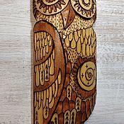 Маски ручной работы. Ярмарка Мастеров - ручная работа Деревянная сова на стену. Handmade.