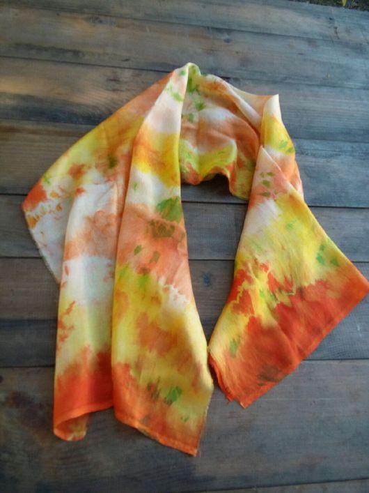 Шали, палантины ручной работы. Ярмарка Мастеров - ручная работа. Купить Шелковый шарфик Оранжевое лето. Handmade.