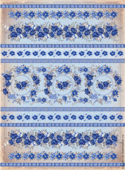 Декупаж и роспись ручной работы. Ярмарка Мастеров - ручная работа. Купить Синие цветы полоски (CPD0563) - рисовая бумага, А3. Handmade.
