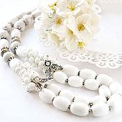 Белые бусы из агата «Дуняша»