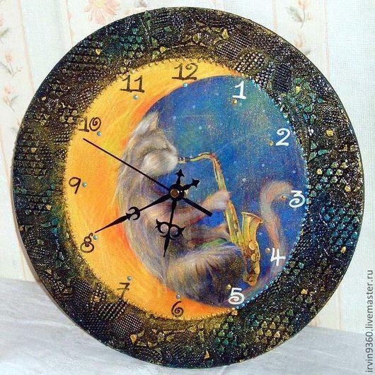 """Часы для дома ручной работы. Ярмарка Мастеров - ручная работа. Купить Часы """"Лунный кот"""". Handmade. Часы, день и ночь"""