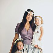 Одежда ручной работы. Ярмарка Мастеров - ручная работа Шикарный комплект в стиле фэмили лук из кружева и шифона. Handmade.