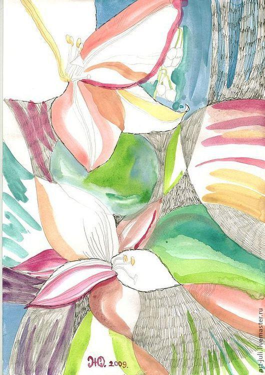 Картины цветов ручной работы. Ярмарка Мастеров - ручная работа. Купить рисунок Цветение. Handmade. Цветы, картина с цветами, графика