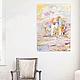 Картина маслом  `Мечты о белом городе` 60/40 см в интерьере