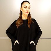Одежда handmade. Livemaster - original item Black sweater, plus size sweater, long sweater with pockets. Handmade.