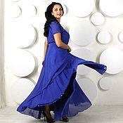 """Одежда ручной работы. Ярмарка Мастеров - ручная работа Шелковое платье """"Невозможно-синий"""". Handmade."""
