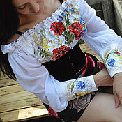 """Одежда ручной работы. Ярмарка Мастеров - ручная работа Вышиванка""""Маки в васильках 3"""" блуза вышивка маки. Handmade."""