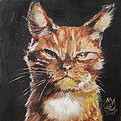 Картины и панно handmade. Livemaster - original item Red cat, 15h15sm, Oil, framed. Handmade.
