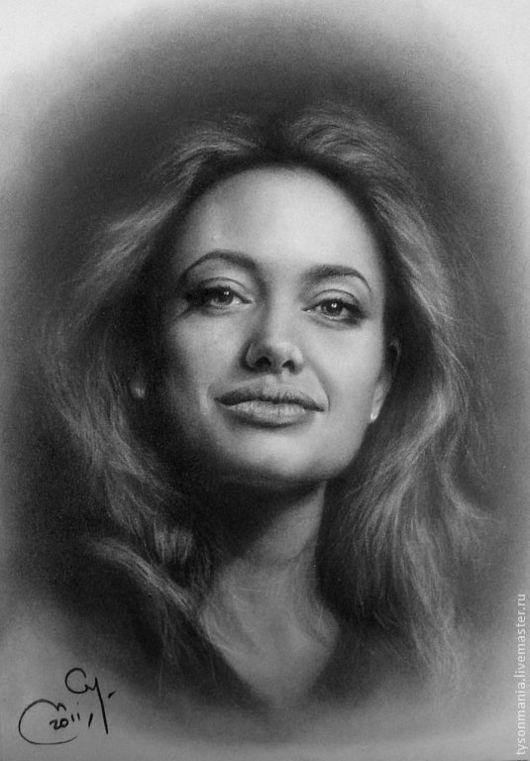 Люди, ручной работы. Ярмарка Мастеров - ручная работа. Купить Angelina Jolie. Handmade. Портрет, ручная работа, плотная бумага