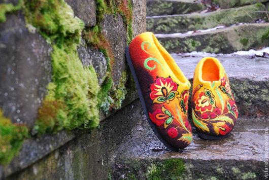 """Обувь ручной работы. Ярмарка Мастеров - ручная работа. Купить Тапочки """"Хохлома"""" НА ЗАКАЗ. Handmade. Хохлома"""