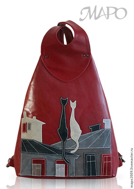 """Рюкзаки ручной работы. Ярмарка Мастеров - ручная работа. Купить Рюкзак """"Коты на крыше"""". Handmade. Бордовый, рюкзак для девушки, Аппликация"""