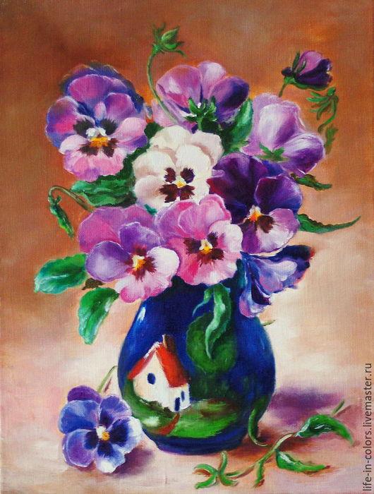 Картины цветов ручной работы. Ярмарка Мастеров - ручная работа. Купить Картина маслом Анютины глазки. Handmade. Комбинированный, цветы