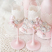 """Свадебный салон ручной работы. Ярмарка Мастеров - ручная работа """"Пудра"""" свадебные бокалы. Handmade."""