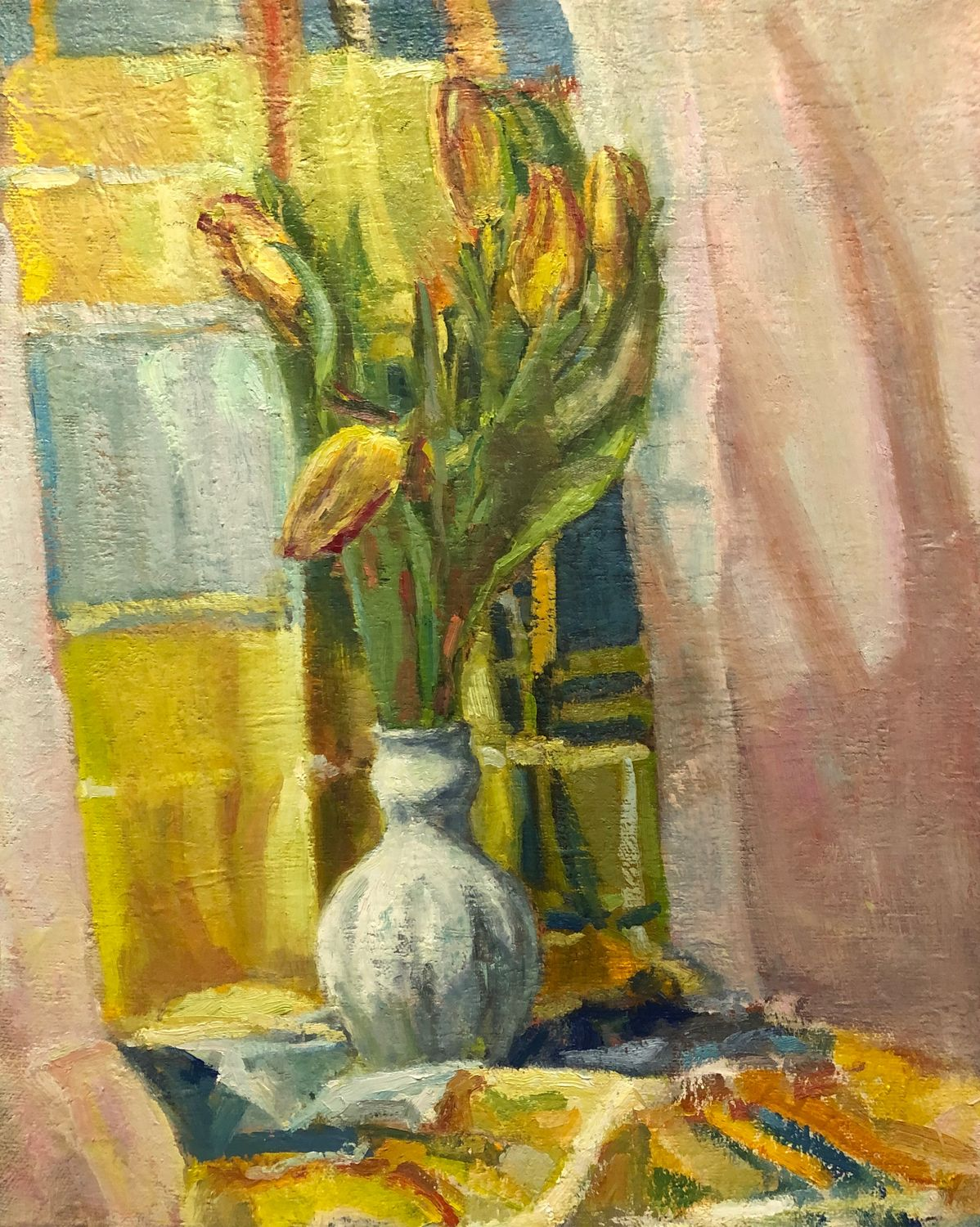 Spring still Life with a white vase oil on canvas 50-40 cm, Pictures, St. Petersburg,  Фото №1