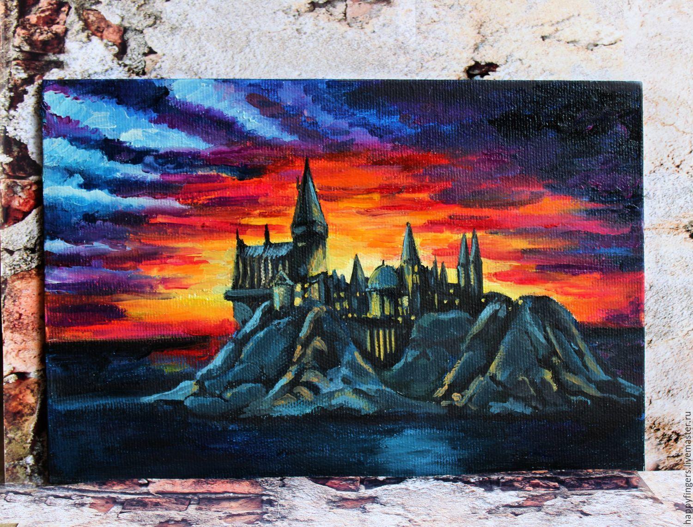 """Картина маслом """"Закат над Хогвартсом"""" Гарри Поттер закат Хогвартс, Картины, Электросталь, Фото №1"""