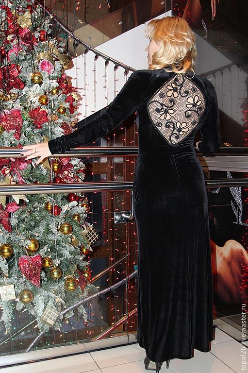 """Платья ручной работы. Ярмарка Мастеров - ручная работа. Купить Платье """"Черный бархат"""". Handmade. Черный бархат, платье на праздник"""