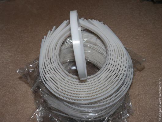 Ободок-основа для украшения ручной работы. Пластик. 10 мм. Цвет: белый