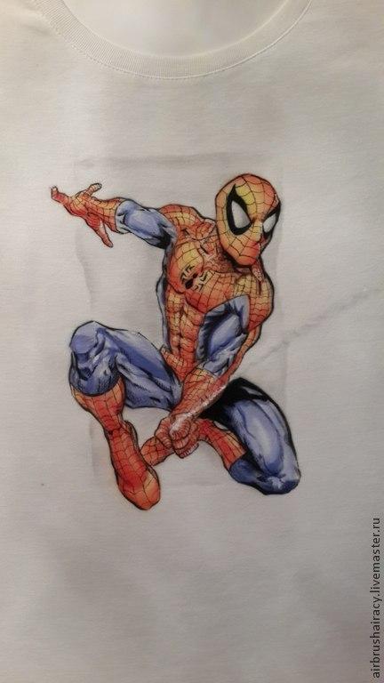 Аэрография, человек паук на футболке