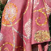 """Аксессуары ручной работы. Ярмарка Мастеров - ручная работа """"Мозаичный розовый"""" палантин валяный. Handmade."""