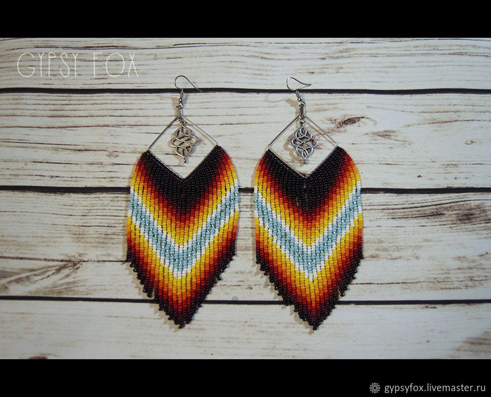 Earrings beaded, Tassel earrings, Tyumen,  Фото №1