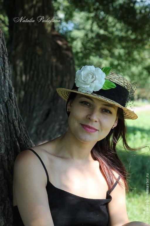 """Шляпы ручной работы. Ярмарка Мастеров - ручная работа. Купить Канотье """"Camelia blanc"""" (Белая камелия). Handmade. Золотой"""