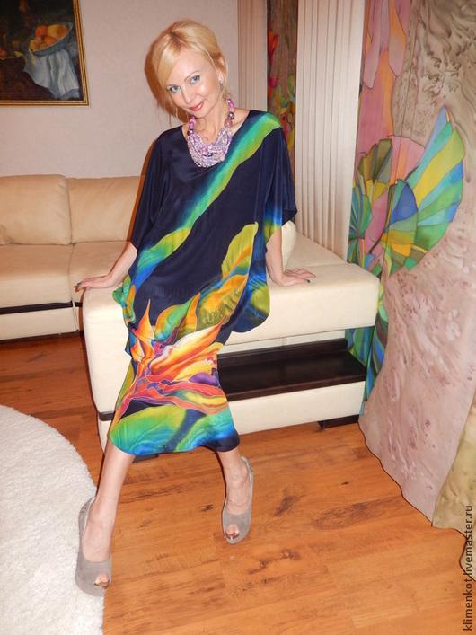 Платья ручной работы. Ярмарка Мастеров - ручная работа. Купить платье-Тропики 1. Handmade. Тёмно-синий, платье, орхидея