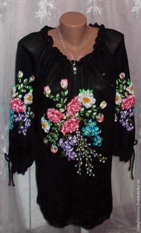 """Блузки ручной работы. Ярмарка Мастеров - ручная работа. Купить Блузка """"НОЧНОЙ САД"""". Handmade. Черный, вязание для женщин"""