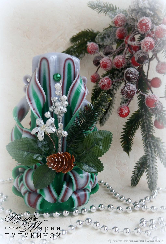 Резные свечи с новогодним декором, Свечи, Люберцы,  Фото №1