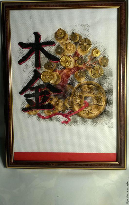 """Символизм ручной работы. Ярмарка Мастеров - ручная работа. Купить вышивка """"Богатство"""". Handmade. Комбинированный, рамка со стеклом, нитки"""