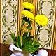 Интерьерные композиции ручной работы. Ярмарка Мастеров - ручная работа. Купить Композиция из одуванчиков Маленькое Cолнце. Handmade. Желтый