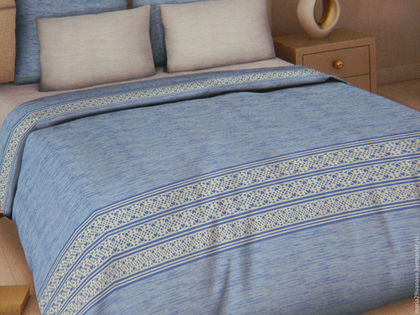 """Текстиль, ковры ручной работы. Ярмарка Мастеров - ручная работа. Купить Комплект постельного белья из поплина (перкаль) """"Голубое небо"""". Handmade."""