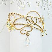 Украшения ручной работы. Ярмарка Мастеров - ручная работа Латунный браслет широкий крупный желтый золотистый белый фентези Флора. Handmade.