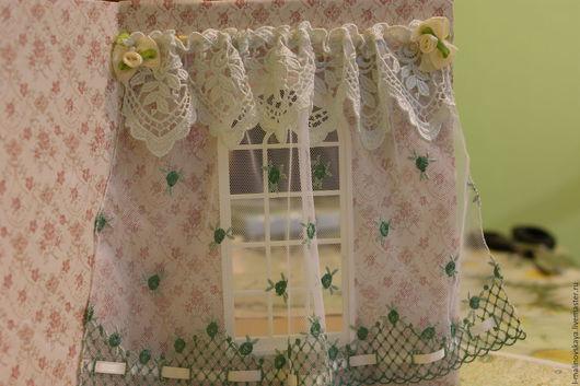 """Куклы и игрушки ручной работы. Ярмарка Мастеров - ручная работа. Купить Миниатюрная штора из """"тюля"""" в кукольный дом 1:12. Handmade."""