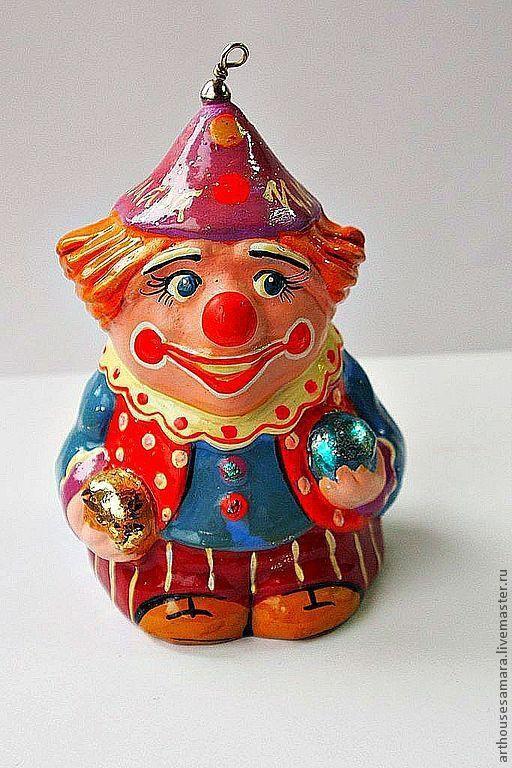 """Колокольчики ручной работы. Ярмарка Мастеров - ручная работа. Купить Керамический колокольчик """"Клоун с шарами в голубом"""". Handmade. Голубой, клоун"""