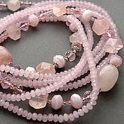 Дыши розой Многорядные бусы/колье/ожерелье розовый кварц