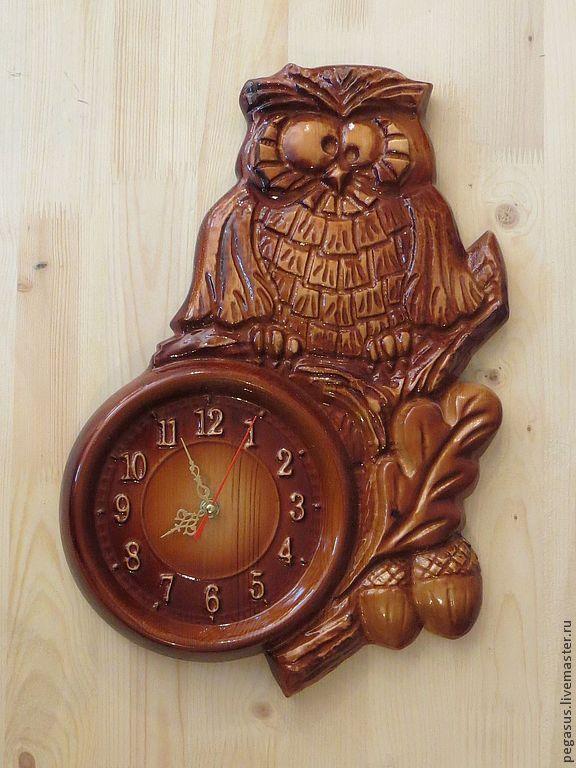 """Clocks handmade. Livemaster - handmade. Buy """"Owl"""" №1.Chasy wall for the house.Handmade, clock, wall clock"""