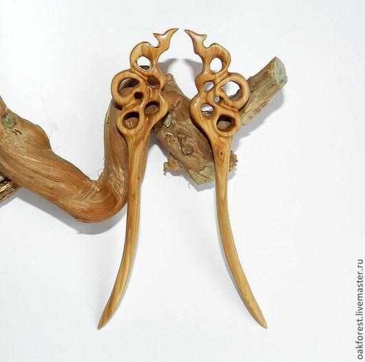 Заколки ручной работы. Ярмарка Мастеров - ручная работа. Купить Шпильки для волос из дерева - комплект (сирень). Handmade. Шпильки из дерева