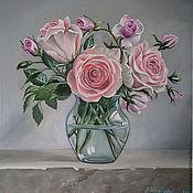 Картины и панно ручной работы. Ярмарка Мастеров - ручная работа Картина маслом . Розовые розы на сером. Handmade.