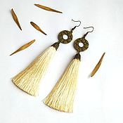 Tassel earrings handmade. Livemaster - original item Earring of the brush