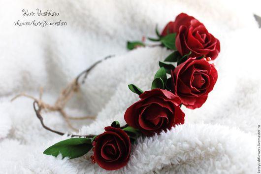 """Свадебные украшения ручной работы. Ярмарка Мастеров - ручная работа. Купить Венок с цветами """"Chateau Mouton"""". Handmade. Бордовый, подарок"""